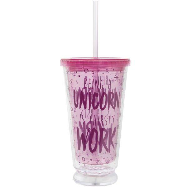 LED UNICORN CUP W/STRAW