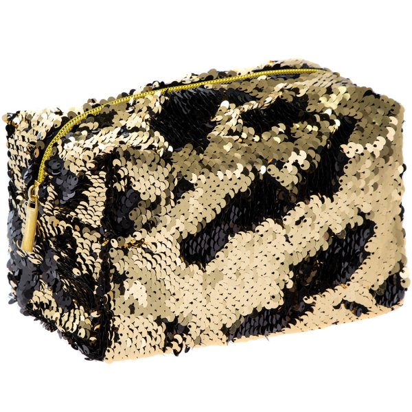 SEQUIN COSMETIC BAG BLK&GOLD