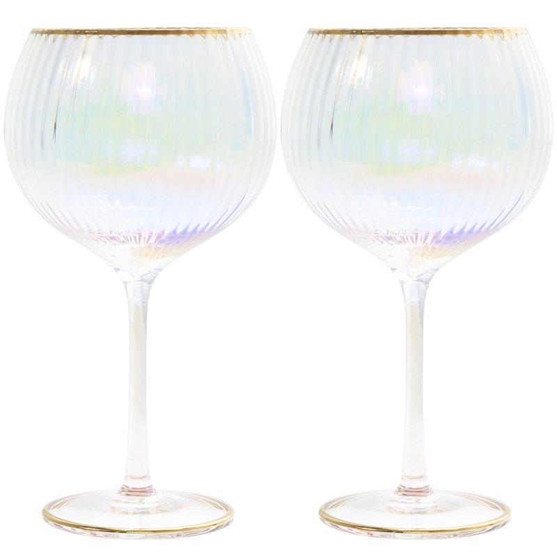 LUSTRE RIBBED GIN GLASSE SET2
