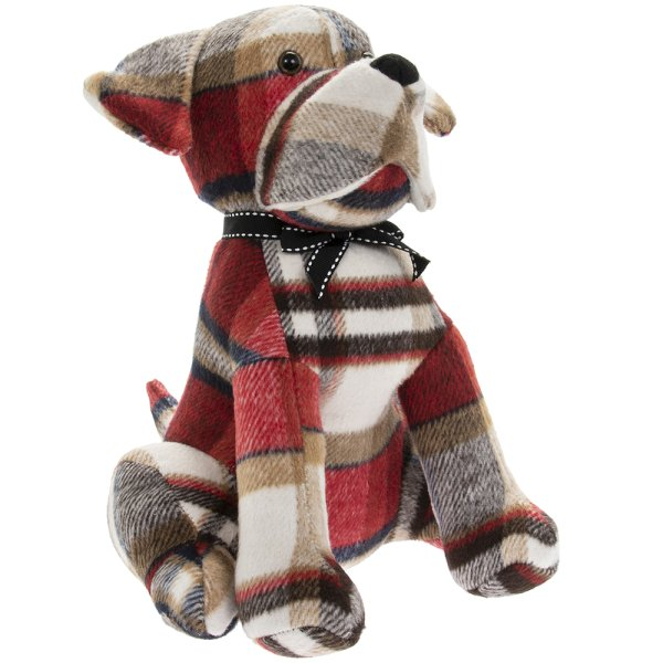 RED CHECK DOG DOORSTOP