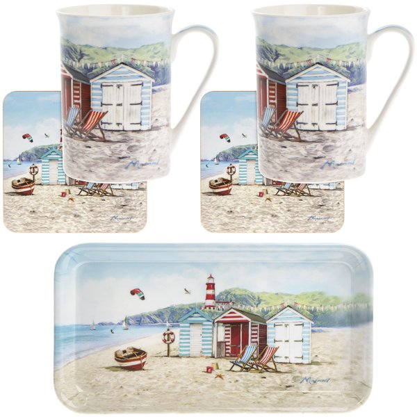 SANDY BAY MUGS 2 COASTERS TRAY