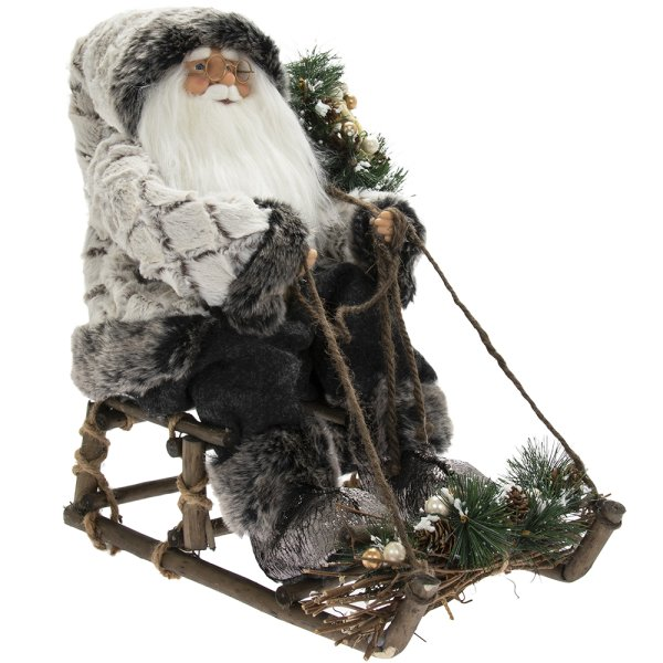 SANTA ON SLEDGE RUSTIC 18""