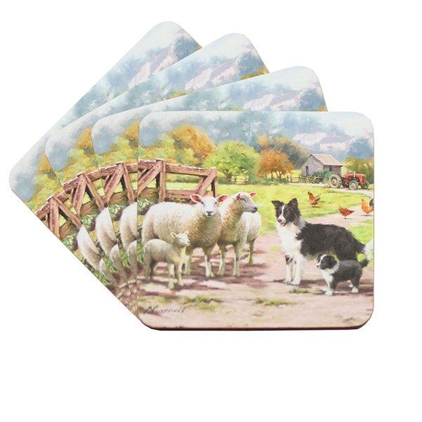 COLLIE & SHEEP COASTER SET 4
