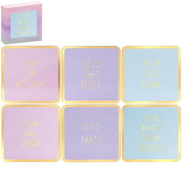 FIZZ COASTERS SET OF 6