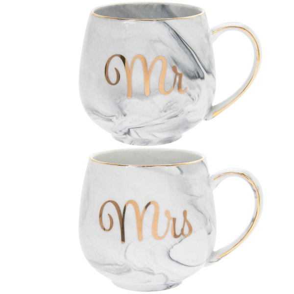 MARBLE MR & MRS MUGS SET OF 2