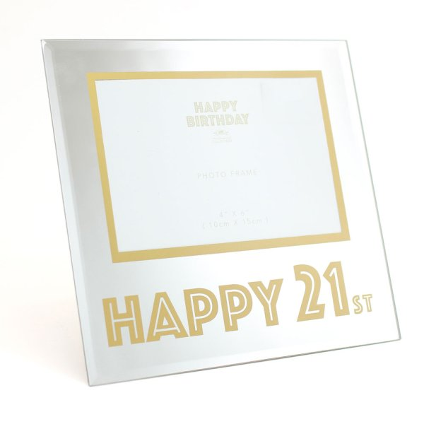 MIRROR & GOLD 21ST BDAY FRAME