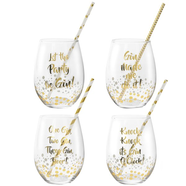GOLD STEMLESS GLASS SET 4