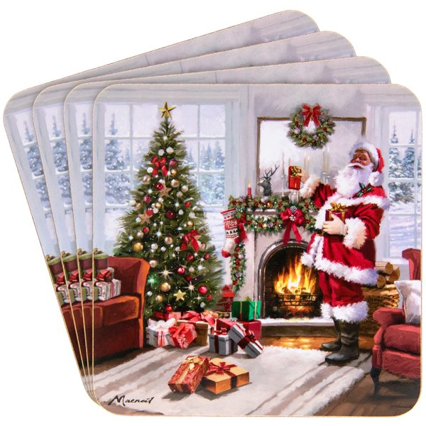 CHRISTMAS SANTA COASTERS 4 SET