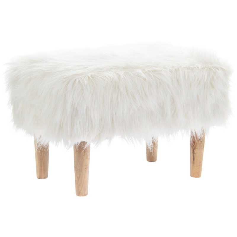 WHITE FURRY STOOL RECTANGLE