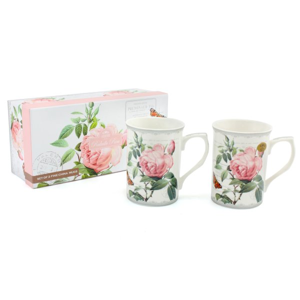 REDOUTE ROSE MUGS 2 SET