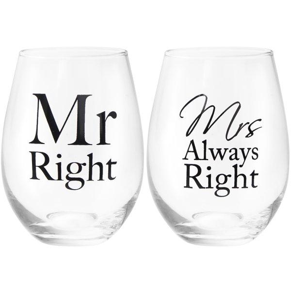 MR & MRS RIGHT STEMLESS GLS 2S