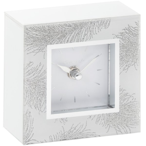 WHT FEATHER MIRROR CLOCK