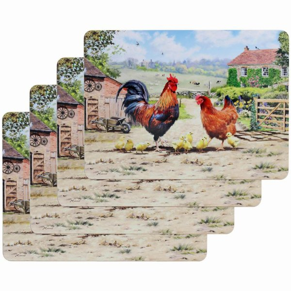 COCKEREL & HEN PLACEMATS SET 4