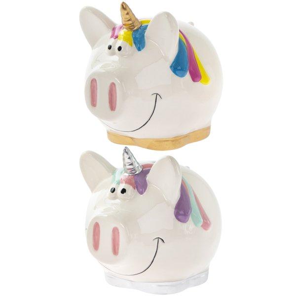 UNICORN PIGGY MONEYBANK 2ASS S
