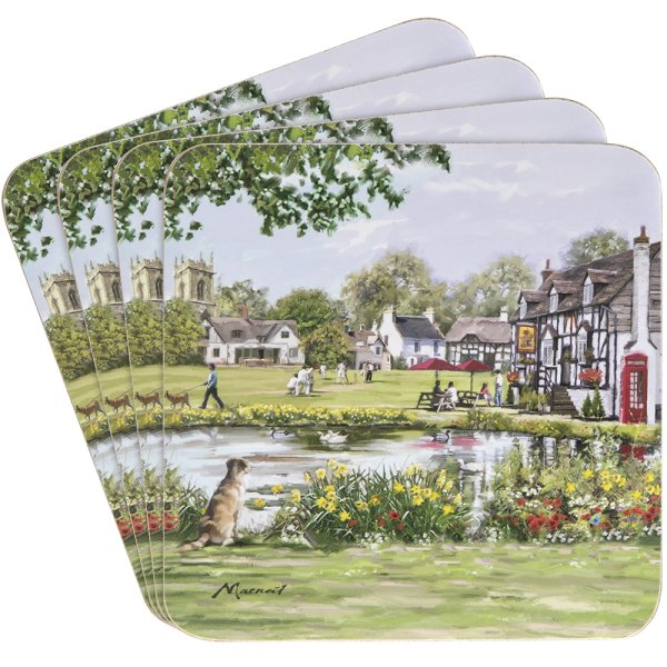 COUNTRY PUB COASTERS SET 4