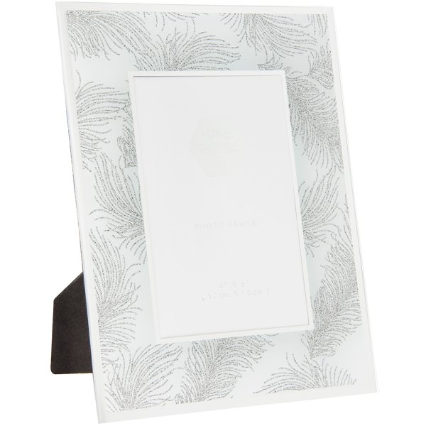 SIL FEATHER WHT MIRR FRAME 4X6