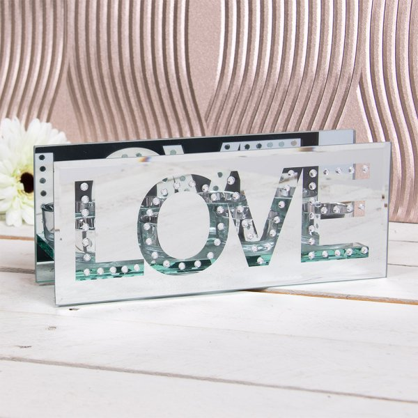 MIRROR TEA LIGHT HOLDER LOVE