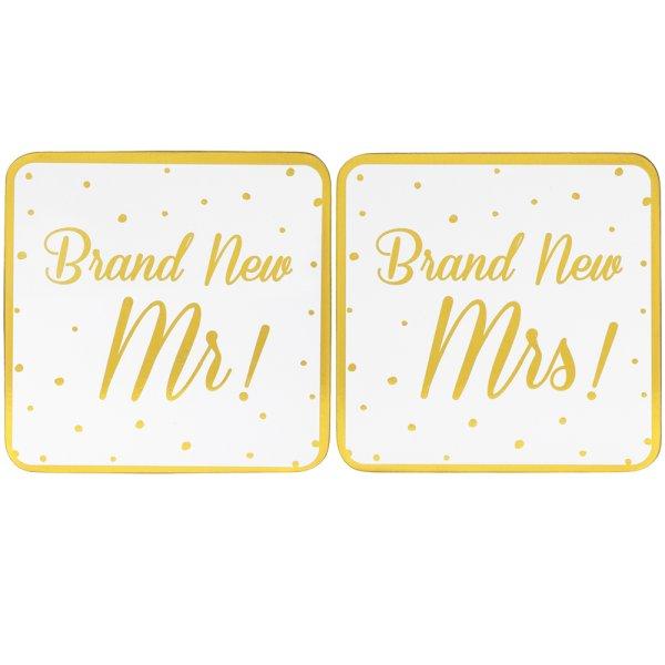 BRAND NEW MR&MRS COASTERS SET2