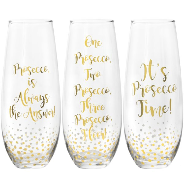 GOLD PROSECCO STEMLESS FLUTES
