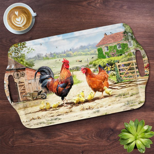 COCKEREL & HEN TRAY LGE
