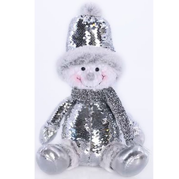 SNOWMAN SITTING SEQUINS SILVER