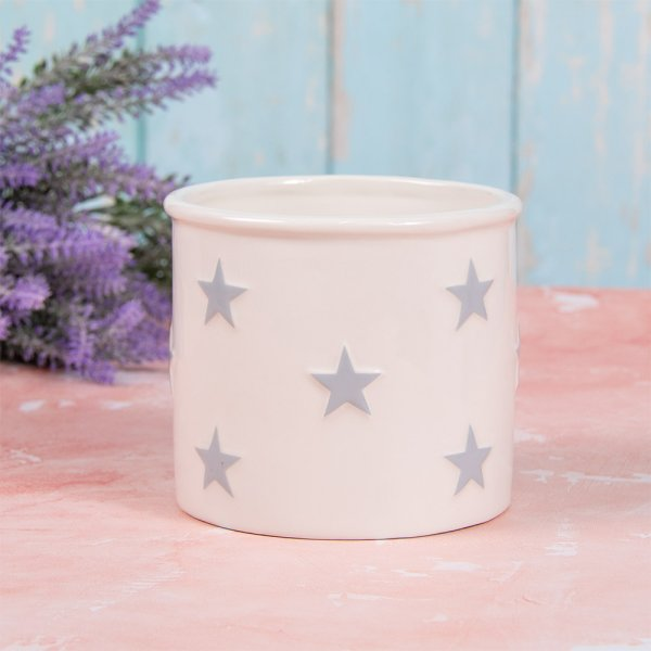 WHITE&GREY STARS PLANT POT S