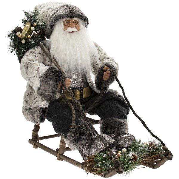 SANTA ON SLEDGE RUSTIC 24""