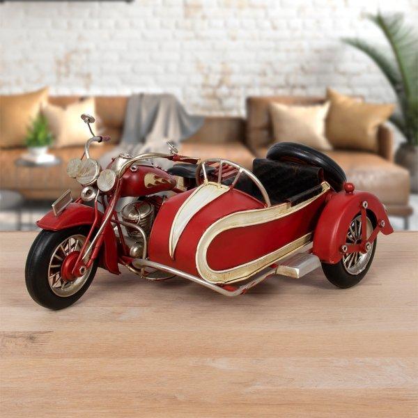 VINTAGE RED MOTORCYCLE & CART