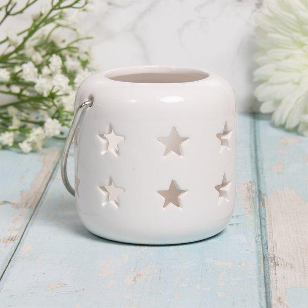 STARS LANTERN WHITE 8CM