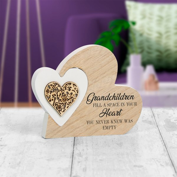 DBL HEART PLQ GRANDCHILDREN S