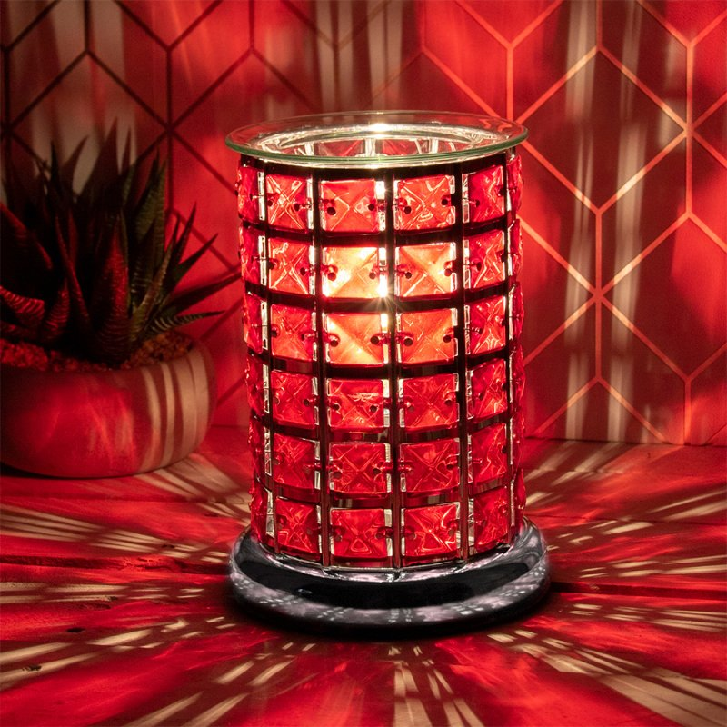 AROMA LAMP RED CRYSTAL SILVER