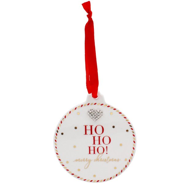 MAD DOTS HO HO HO BAUBLE PLAQ