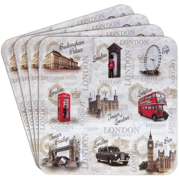 VINTAGE LONDON COASTER 4 SET