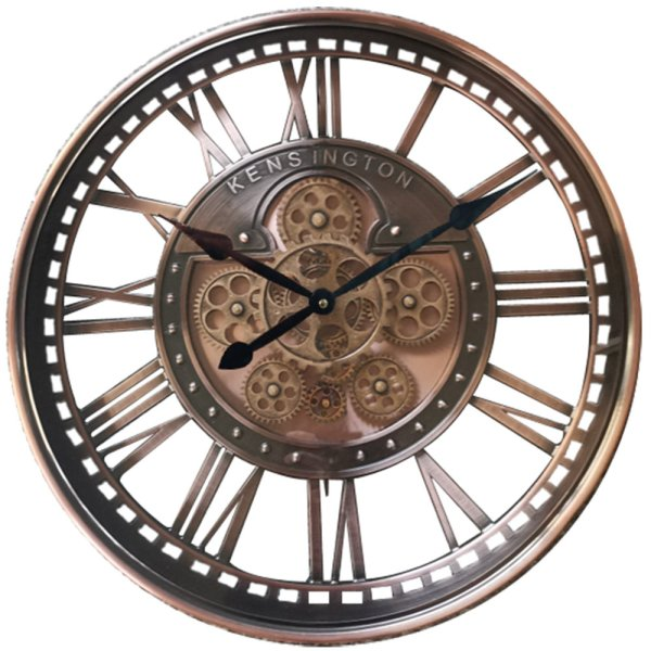 BRONZE MOVING COG CLOCK 54CM