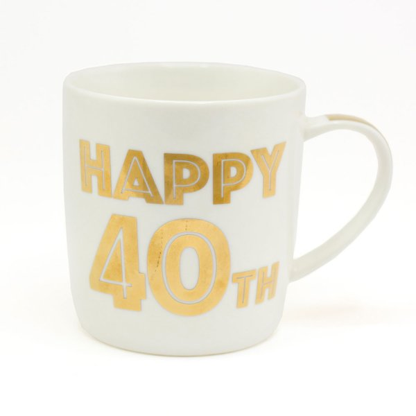 GOLD HAPPY 40TH BIRTHDAY MUG