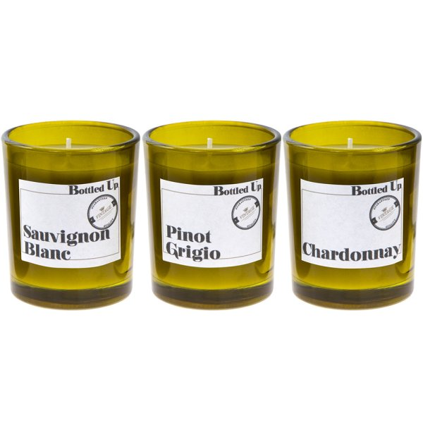 WHITE WINE BOTTLE CANDLE SET 3