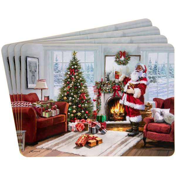 CHRISTMAS SANTA PLACEMATS 4SET