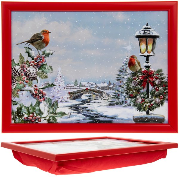 CHRISTMAS ROBINS LAPTRAY