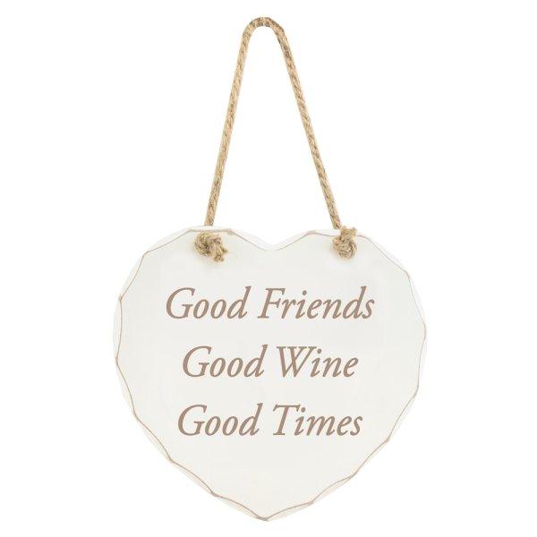 GOOD FRIENDS GOOD WINE PLAQUE