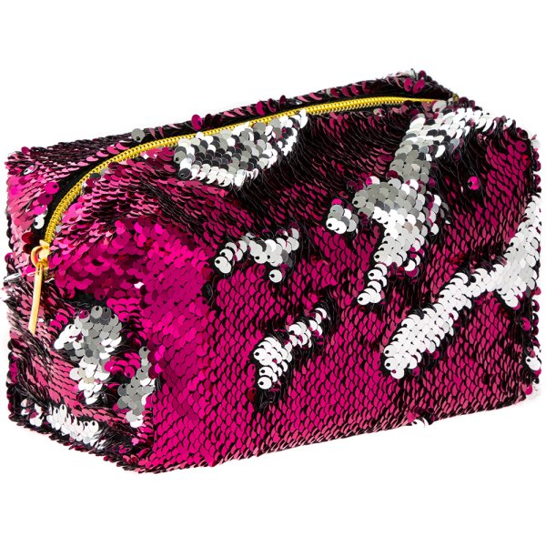 SEQUIN COSMETIC BAG PINK&SILV