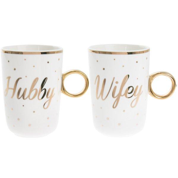 HUBBY / WIFEY MUGS SET OF 2
