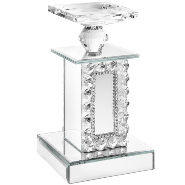 DIAMANTE MIRROR CANDLE HOLDER