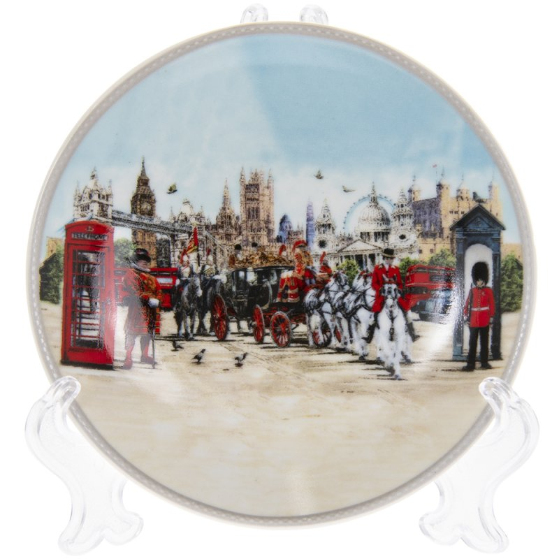 """LONDON COLLAGE PLATE/STND 4.5"""""""