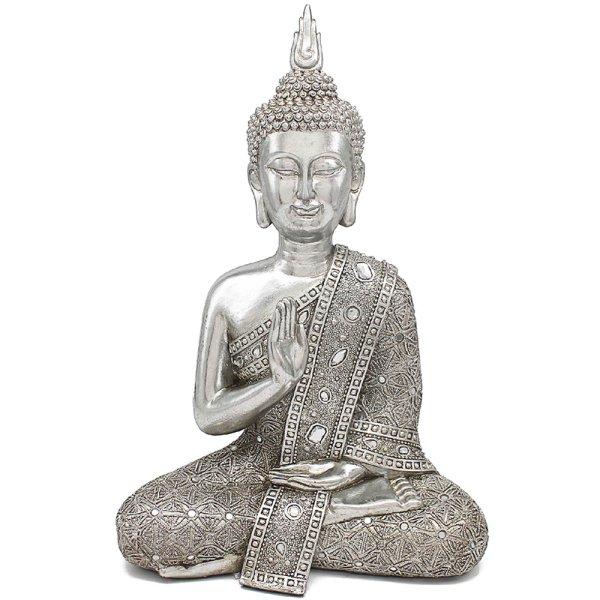 """SILVER ART THAI BUDDHA 16"""""""