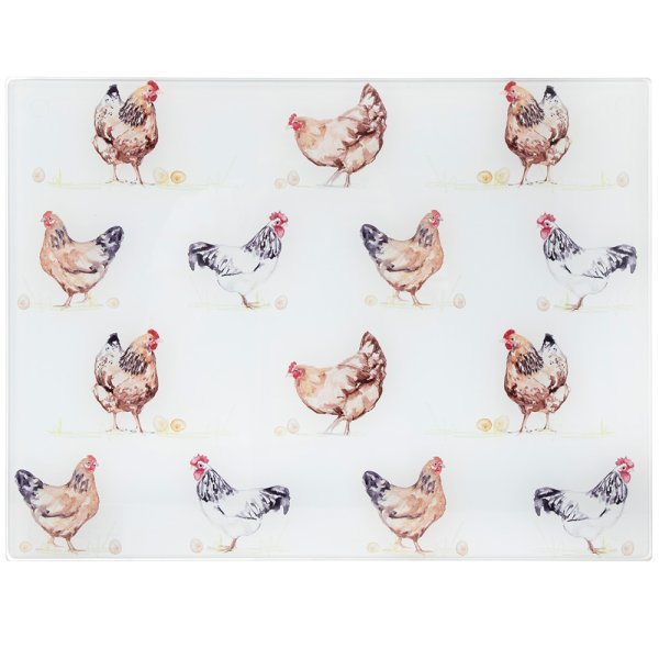 CHICKENS GLS CUTTING BOARD LGE