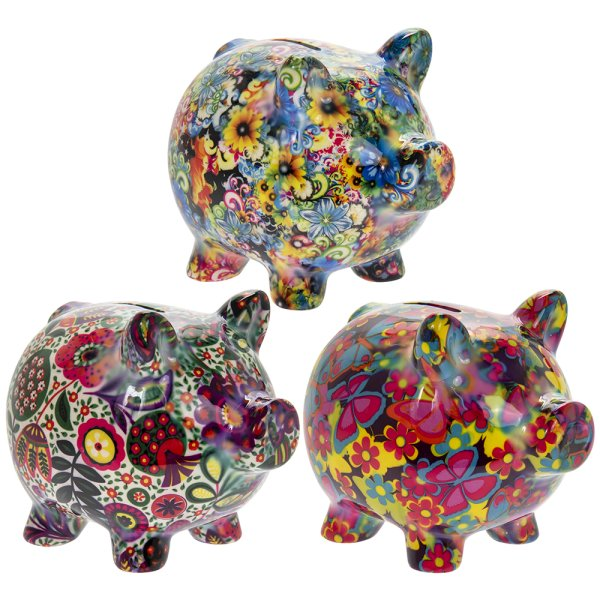 PIGGY FLORALS MONEY BANK 3AS L