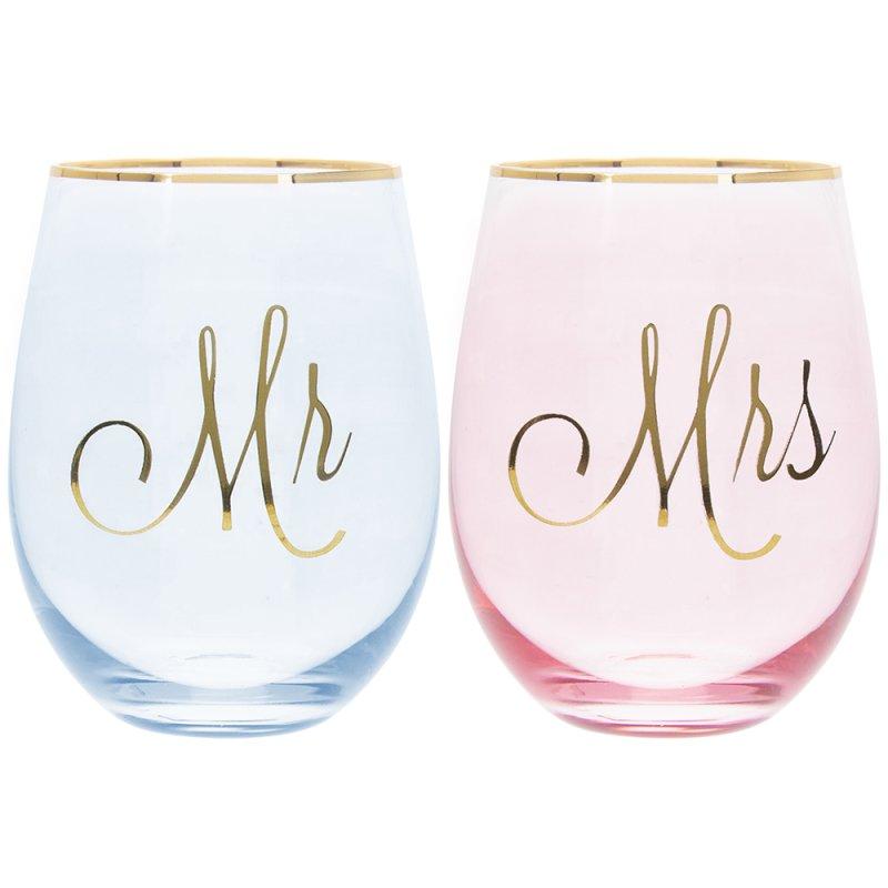 MR & MRS STEMLESS GLASSES