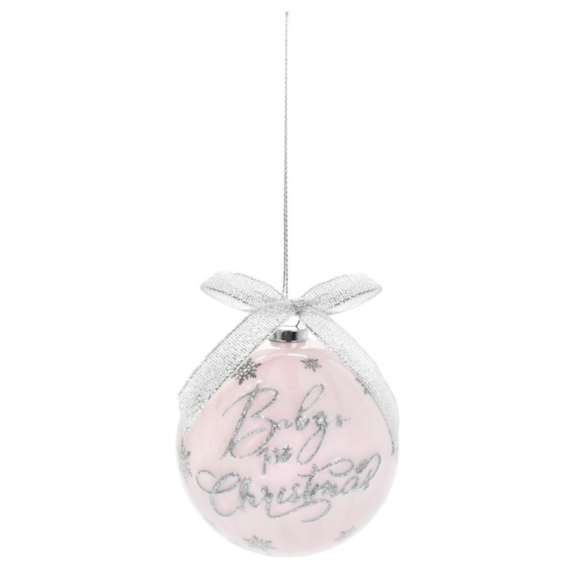 BABY'S 1ST XMAS BAUBLES PINK