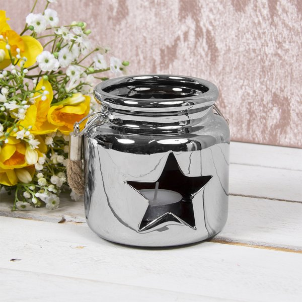 STAR CANDLE HOLDER SILVER 10CM