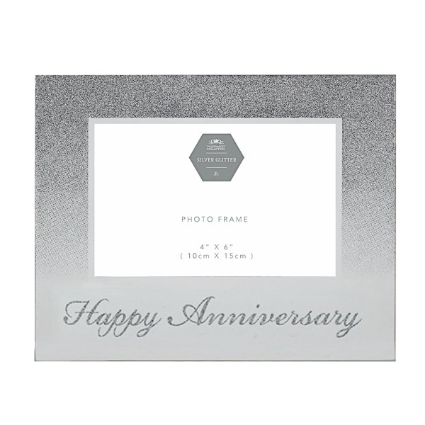 HAPPY ANNIV SIL GLITTER 6X4""